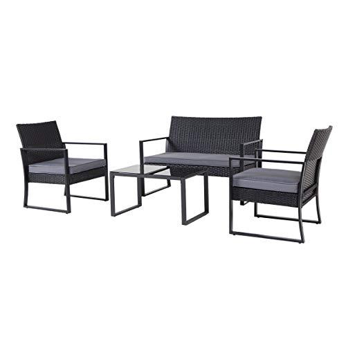 SVITA LOIS XL Poly Rattan Sitzgruppe Gartenmöbel Metall-Garnitur Bistro-Set Tisch Sessel schwarz - 2