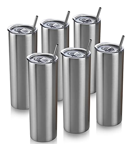 6 Skinny Tumbler 6 Pack - 20 oz Stainless Steel { Silver Color } Insulated Reusable Tumbler with Lids and Straws Plus Cleaning Brush – For Hot and Cold Drinks