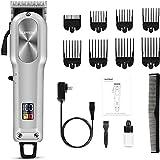 SUPRENT Tagliacapelli Uomo Professionale a batteria per tagliare i capelli con batteria a lunga durata e lama in acciaio inossidabile, kit per la cura dei capelli per la famiglia