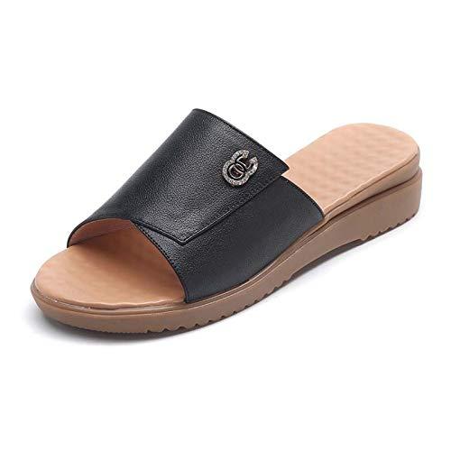 YSODFQL Chanclas para Mujer Verano, Sandalias Antiderrapante, Zapatos de Playa y Piscina Adulto, Ergonomic Flip-Flops Sandalias con Punta Abierta para casa o Playa/Black / 39