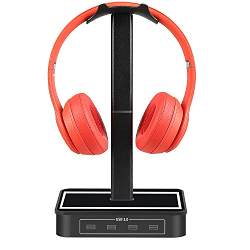 Headphone Stand with USB Hub Znoble Gaming Headset Stand with USB Type-C Hub Multiport Adapter, 4 USB 3.0 Ports-Compatible with Bose, Sony, Beats, JBL, Panasonic, AKG, Sennheiser, Shure and More-Black