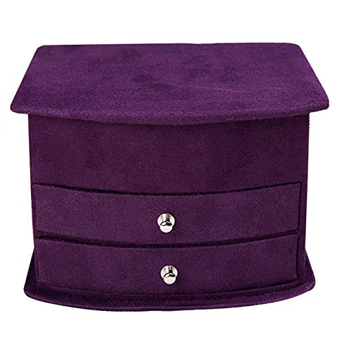 DFVVR Flannel Small Fan-Shaped Jewelry Organizer Box Three-Layer Drawer Type Rings, Housekeeping & Organizers for Home & Garden, Nice Gift (Purple)