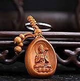 APOO Statua in Legno di pesco Cinese Intagliato Il Santo patrono dello Zodiaco Cavallo Bodhisattva 'Original Destiny Buddha Exquisite Key'