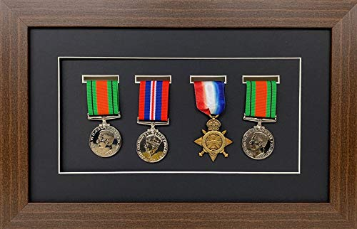Kwik Picture Framing | Military/War/Sports Medal 3D Box Picture Frame Fits Four Medal - Mahagony Frame with Black Mount