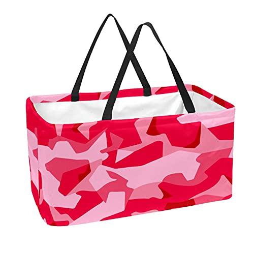 Bolsa de supermercado reutilizable Contenedores de almacenamiento grandes de 50L Cesta de compras Bolsas de asas Pink Camo Military