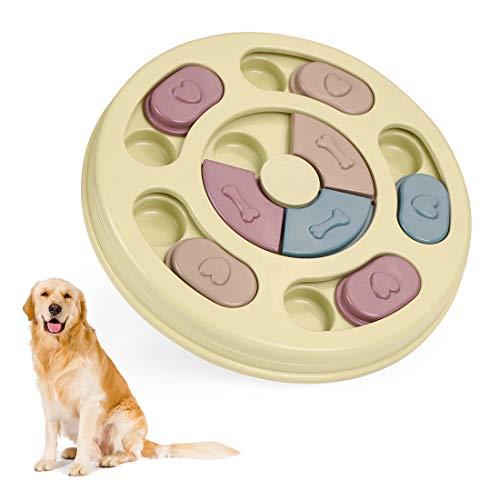 Juguetes para Perros, Juego de Puzle para Perro, Dispensador de Premios Interactivo para Perros, Juego Interactivo de Cuenco Que se Mueve Training de Mascotas Mejora el IQ(Verde)