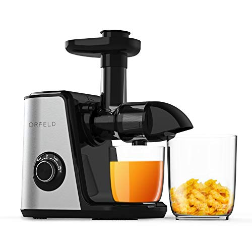 ORFELD Juicer Machines, Slow Masticating Juicer Extractor Easy to Clean, Quiet Motor and Reverse Function, Cold Press Juicer for Vegetable and Fruit Carrots, Oranges and Celery etc (Silver)