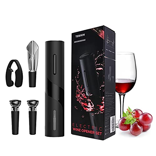 Electric Wine Opener Set, TEBIKIN Automatic Wine Bottle Openers, Cordless Battery Powered Corkscrew with Vacuum Wine Stoppers Wine Aerator Pourer Foil Cutter for Home Gift Party Wedding