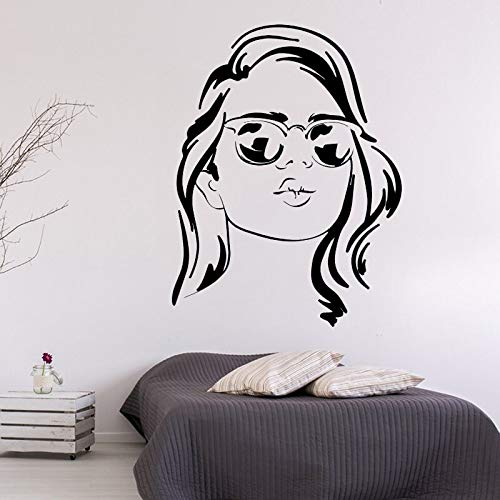 yaonuli Wandtattoo Mode Brille Frau Wandaufkleber Vinyl Wandbild Home Decoration Abnehmbar 68X42cm