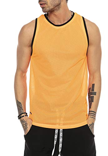 Red Bridge Herren Tank Top Mesh Fresh Air T-Shirt Ärmellos M1839 Orange XL