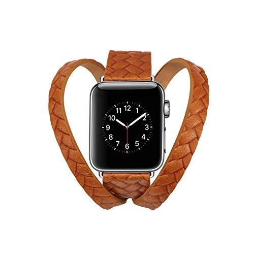 LM para la Banda de Reloj de Pulsera de Cuero con Estampado Doble en Relieve de Doble Anillo con Hebilla de Acero Inoxidable para la Serie Apple Watch Series 3 y 2 y 1 38 mm (Negro) 2021