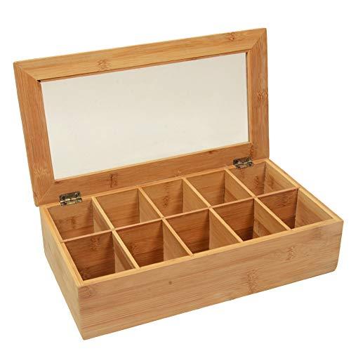Teebox aus Bambus mit 10 Fächern, Rechteckige Teebeutel Aufbewahrungsbox Teekiste Teekasten für Aromaschutz