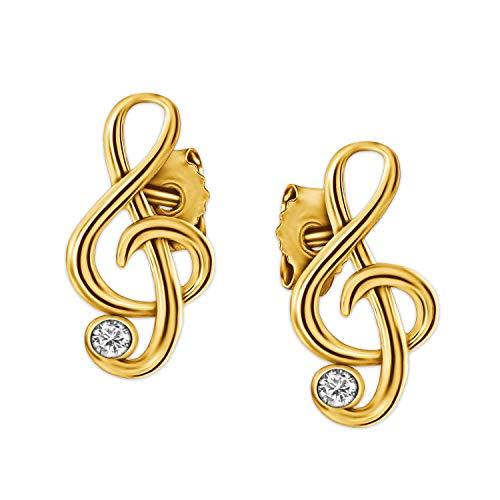Clever Schmuck Goldene kleine Damen Ohrringe als Ohrstecker Mini Notenschlüssel 9 x 5 mm elegant mit Zirkonia weiß glänzend 333 GOLD 8 KARAT