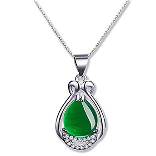 ZYLL Versión Coreana Colgante Tipo jarrón Verde Jade Rojo Colgante de Jade rígido Retro ágata Verde Elegante Colgante Collar joyería