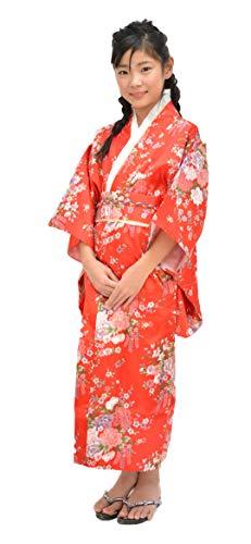 Tikusan Japanese Traditional Dress Kimono Yukata Robe for Kids Girls Costume (8-9 Years, Red)
