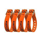 Fixplus - Juego de 4 correas de amarre para asegurar, fijar, atar y amarrar, de plástico especial con hebilla de aluminio, 35 cm x 2,4 cm (naranja)