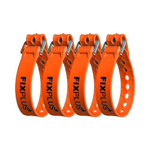 Fixplus Strap Paquete de 4 - Correa de sujeción para asegurar, Sujetar, agrupar y trincar, a Base de Material plástico Especial con Hebilla de Aluminio 35cm x 2,4cm (Naranja)
