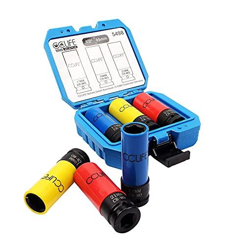 CCLIFE 3 piezas Juego de vasos de impacto, llaves de vasos para llantas de aluminio, 1/2' Conduzca 17-19-21mm CR-MO Material 85mm de longitud, utiliza para pernos de ruedas