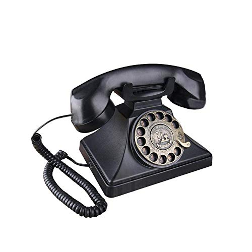 Preisvergleich Produktbild TBTUA Wählscheibe Telefon Retro Old Fashioned Festnetztelefone,  schnurgebundenes Telefon mit Lautsprecher und Wahlwiederholungsfunktion für Heim und Dekor (Classic Black)