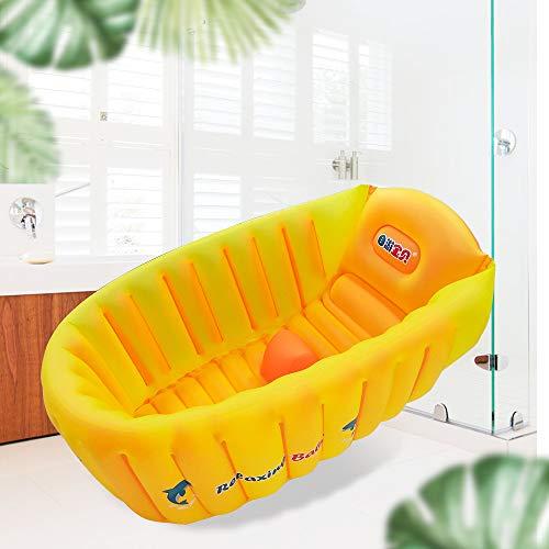Inflatable Baby Bathtub, Anti- Slip Toddler Tub Portable Newborn Bathtub with Foldable Shower Basin Travel Tub for 6-36 Months Infants Bathing Seat(Orange)