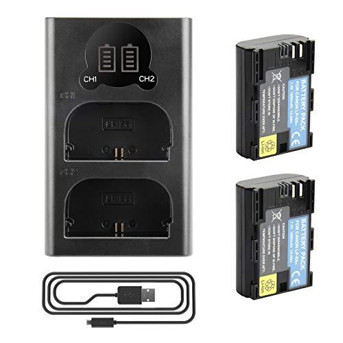 2 X LP-E6 LP-E6N Batteria di Ricambio e Doppio caricatore Compatibile con Canon EOS 5D Mark II, DS Mark III, 5D Mark IV, 5DS, 5DS R, 6D, 7D, 7D Mark II, 80D, 70D, 60D, 60Da