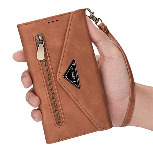 YINCANG Capa protetora para Samsung Galaxy J8 (2018), compartimento para vários cartões, bolso de couro com zíper, fecho de fivela de cobre para Samsung Galaxy J8 (2018) / A6 Plus (2018) (Marrom)