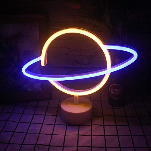 """Blauer warmer Planet Neonplanetenlicht mit Basis-LED-Neonlicht leuchten Art-Deco-USB/Batterieständerlogo für Hauptdekorationsgeschäftsdesign-Feiertagsfeier-Partydekoration (9,4\""""× 11,8\"""")"""