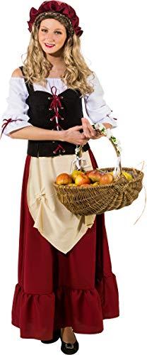 O9031-46 rot-schwarz-beige Damen Mittelalter Magd Bäuerin Wirtin Kostüm Kleid Gr.46