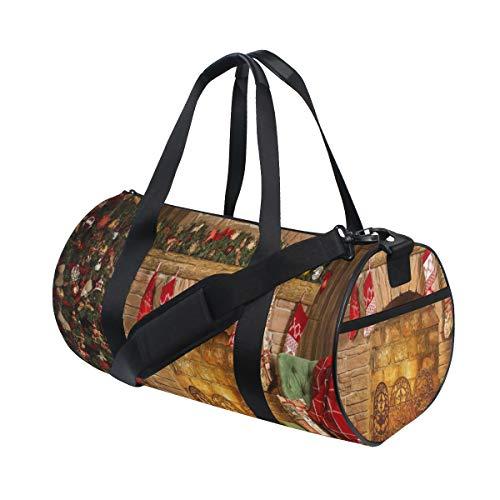 PONIKUCY Sporttasche Reisetasche,Frohe Weihnacht Guten Rutsch ins Neue Jahr Weihnachtsbaum Kamin Ziegelstein Strümpfe,Schultergurt Handgepäck für Übernachtung Reisen