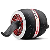 home abdominal muscle exercise fitness equipment,Self-rebounding abdominal muscle ab rollers, abdominal muscle rollers with knee pads, easy to assemble Ab machine exercise equipment (red)