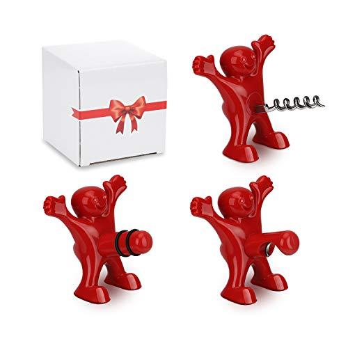 Tire Bouchon Cadeau Homme Femme, CENXINY 3 Pack Décapsuleur de Vin Trois Mignons Hommes Rouges Tire-bouchons, Vin Bouchon, Bière Ouvre Bouteille- Cadeau Noël Anniversaire