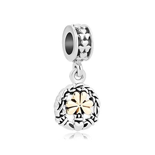 Q&Locket Celtic Knots Anitique Flowers Dangle Beads Charm for Bracelet