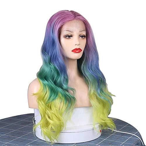 Women's Wigs, Cents, Long Rolls, Big Waves, Rainbow Ladies Wigs, Halloween, Cosplay, Fancy Dress Party