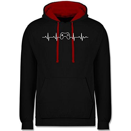 Shirtracer Nerds & Geeks - Herzschlag Gaming Controller - 5XL - Schwarz/Rot - JH003 - Hoodie zweifarbig und Kapuzenpullover für Herren und Damen