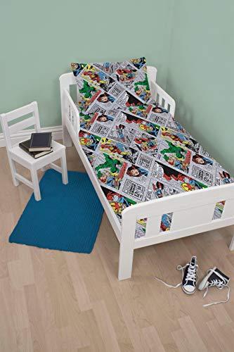 Children's Cot Bed/Junior/Toddler Bed Duvet Cover and Pillowcase Sets - 120cm x 150cm (Marvel Comics 'Retro')