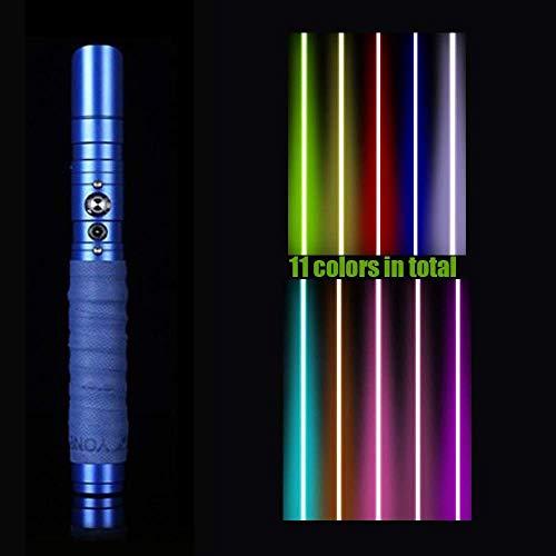 Sable ligero de Star Wars – Metal aluminio Hilt Force Fx Lightssable con 11 colores cambiantes LED espadas láser recargables para adultos Sboy niñas niños Cosplay (dorado), plata (azul)