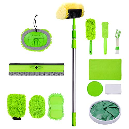 Rainbow Craft 4-8 Feet Car Cleaning Kits, Telescopic Extension Pole, Window Squeegee - Combo for Washers//Portable Folding Bucket, Scrub Brush, Dusters, Wiping Cloth&Waterproof Apron