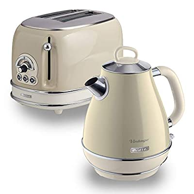 Ariete Retro Style Jug Kettle and 2 Slice Toaster, Vintage Design, 1.7 Litre