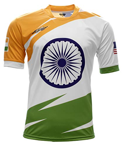 Arza Sports India and USA Men Fan Jersey Color Red/White (X-Large)