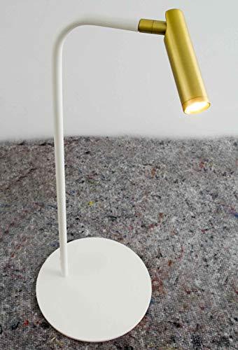 Lámpara de mesa LED dorada y blanca de estilo vintage - minimalista marca Luz Vintage