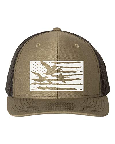 Waterfowl Trucker Hat/Duck Flag/Hunting Snapback/White Text (Loden/Black)