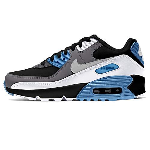 Nike Air Max 90 Ltr Gs Unisex Schuhe Freizeit Sneaker (Schwarz/Blau/Weiß/Grau, Numeric_38_Point_5)