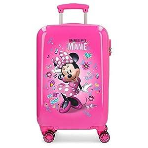 Disney Minnie Minnie Stickers, Maleta rígida con Pegatinas para niños, 55 cm, 32 litros, Rosa