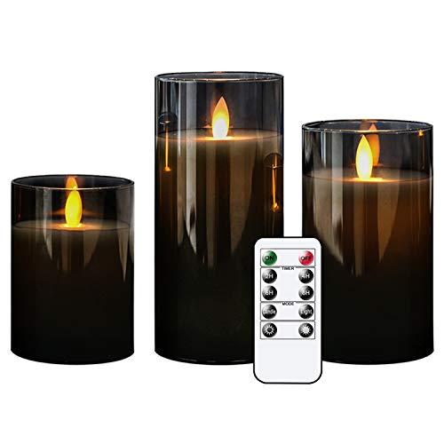 Eldnacele Flammenlose flackernde Glas beweglicher Docht LED Kerze mit Fernbedienung Timer Batteriebetrieben Echtwachs Stumpenkerzen 3er Set für Party Hochzeit Festival Tischdekoration Art Deco grau