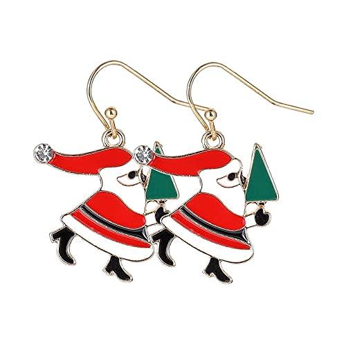 YUANYIRAN Happy Christmas Ear Hook Stud Earring - Snowman Papá Noel Wreath Dangle Ear Stud Pendientes para Niña Regalos De Estilo Navideño Feliz Año Nuevo Mujer Joyería para El Hogar, Style3