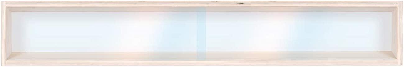 in Legno DL Betulla Non trattato con Guide Alsino 2E40ALR Vetrina espositiva 120 cm x 75,5 cm x 10,5 cm 8 Ripiani 8 Ante plexiglass scorrevoli Scala H0 e N