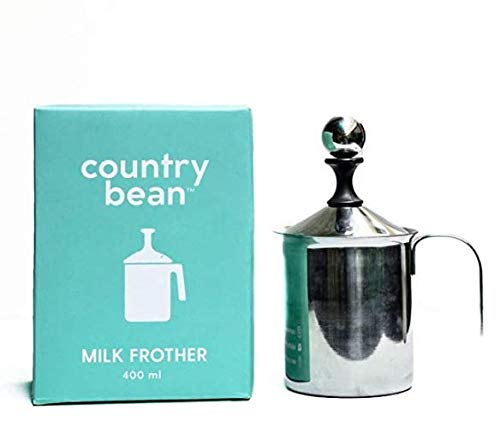 Country Bean Stainless Steel Milk Frother, Double Froth Pump (400Ml)