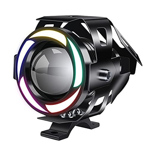 MJJ Faros antiniebla para conducción de Motocicletas, focos LED, Impermeables, auxiliares LED para Motocicletas, con halo ámbar de 5 Colores, 12V 24V, para Motocicleta, Quad, Scooter (2 Piezas)
