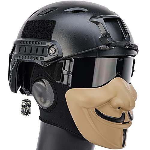 AQzxdc Juego de Casco Táctico, con Gafas de Tres Colores y Máscara Protectora Airsoft, Más Almohadilla de Espuma con Memoria EPP, Utilizada para Cosplay Tiro Caza Paintball,Beige,M