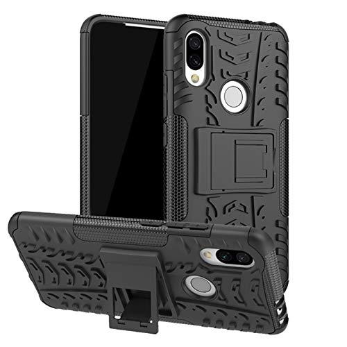 1fortunate Cajas del teléfono para Xiaomi Redmi 7 7A MI 8, TPU & PC Armor Holder Funda para el teléfono para el Parachoques para Xiaomi Redmi Note 7 Pro (Color : Negro, Material : For Redmi 7)